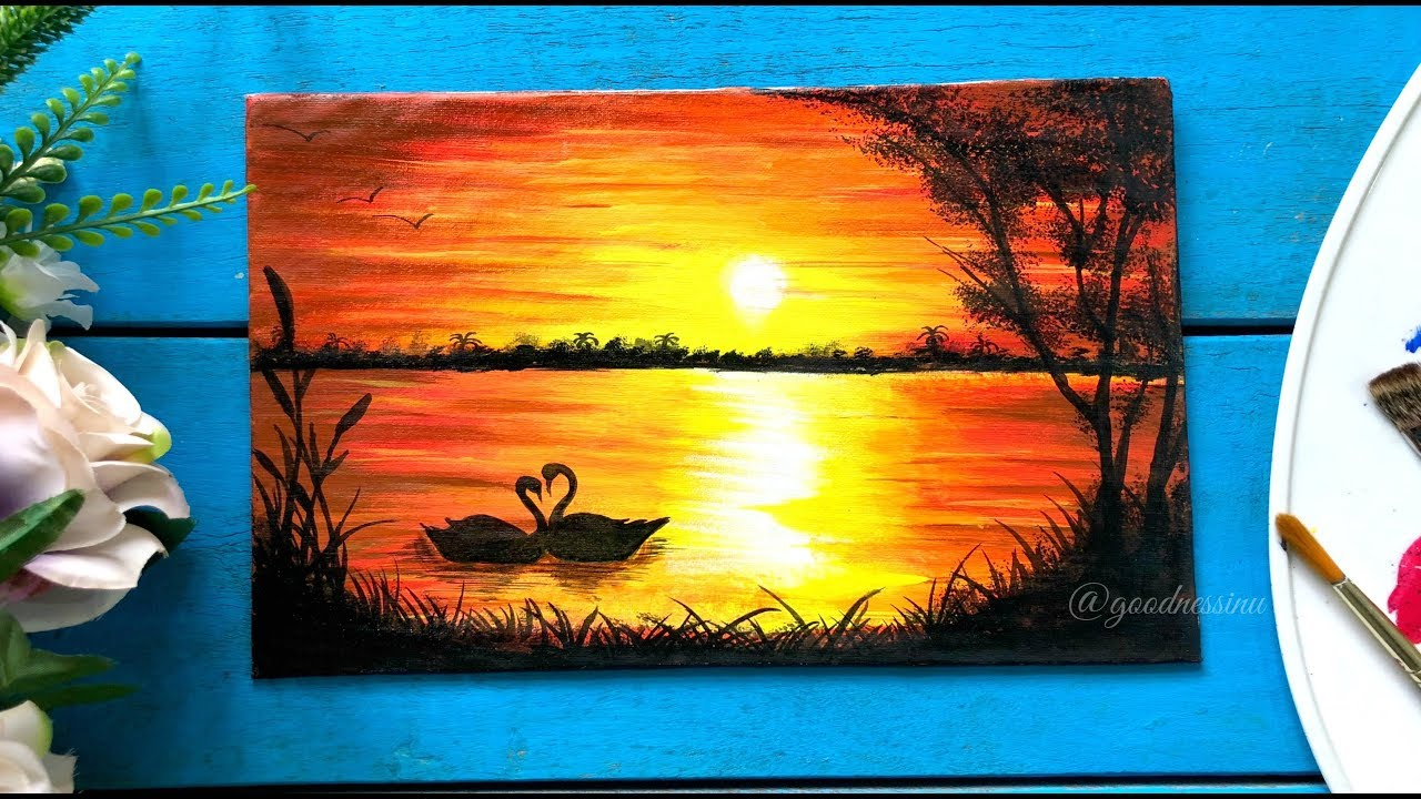 Easy Sunset Painting with Swans, Step by Step tutorial ...