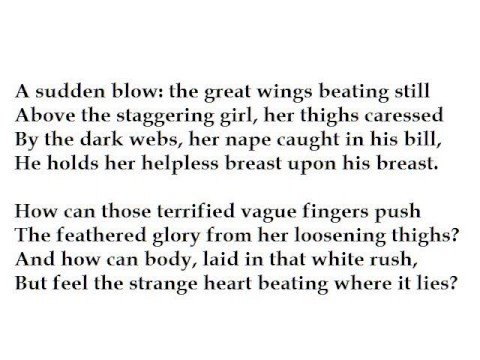 The deceit of zeus in the poem leda and the swan by wb yeats