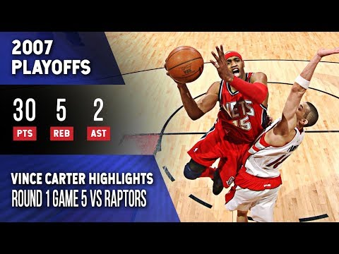 Vince Carter Highlights Playoffs Game 5 Nets vs Raptors (05.01.2007) 30pts, Crazy Layup! - 동영상