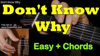 Norah Jones, DON'T KNOW WHY: Easy Guitar Cover + TAB by GuitarNick