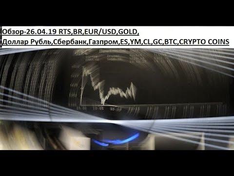 Обзор-26.04.19 RTS,BR,EUR/USD,GOLD, Доллар Рубль,Сбербанк,Газпром,ES,YM,CL,GC,BTC,CRYPTO COINS