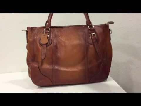 S-ZONE Women's Vintage Genuine Leather Shoulder Bag 14-inch Laptop Handbags Tote Top-handle Purse thumbnail