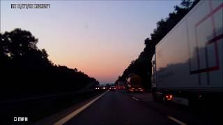 Очень красивый рассвет.Германия.Путешествие на машине по Европе.Природа,отдых,туризм,поездки,дороги