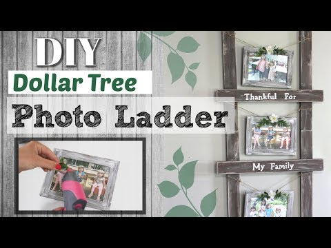 ⭐Dollar Tree DIY Photo Ladder | DIY Farmhouse Dollar Tree Decor | Krafts by Katelyn