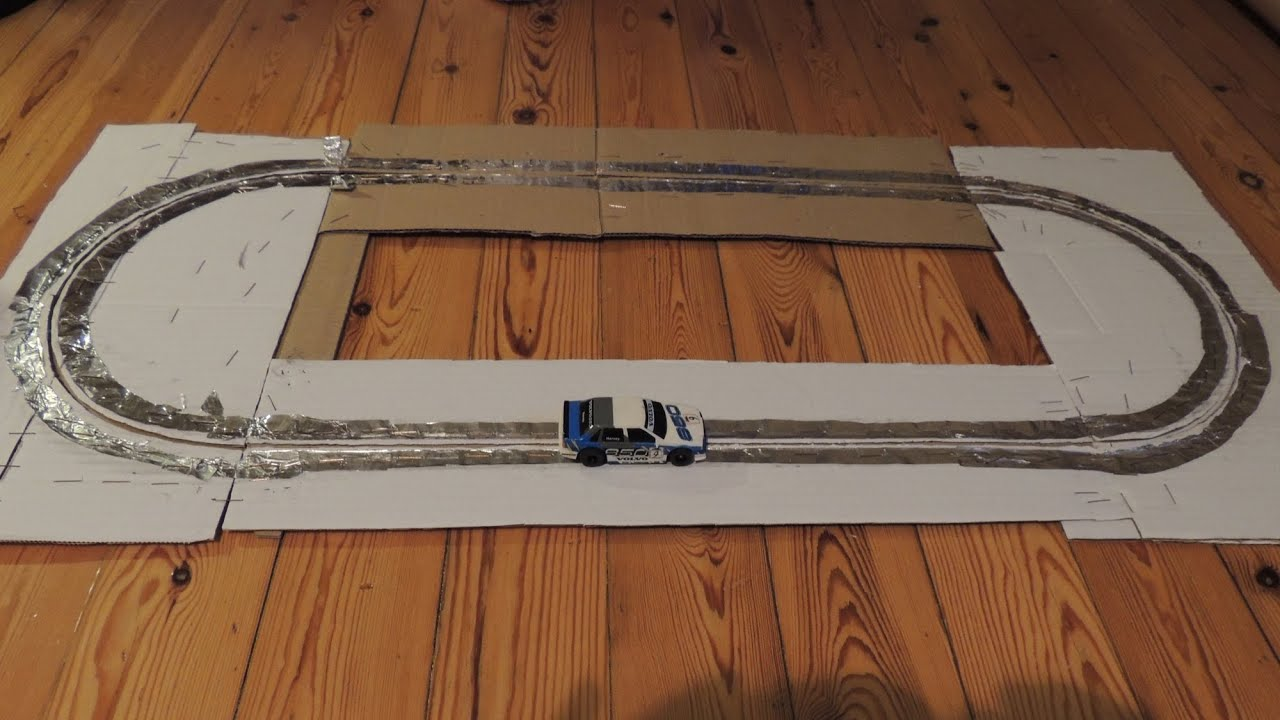 Home Made Slot Car Track Of Cardboard Aluminum Foil And Staples