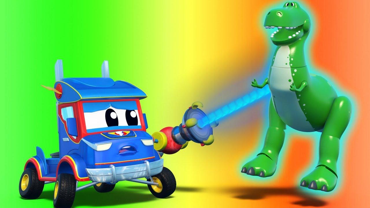 !شعاع التحريك عن بعد يحرك ديناصور تي ريكس الضخم الشاحنة الخارقة - إنقاذ - فيديوهات شاحنات للأطفال