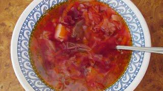 Вкусный Рецепт.  Борщ с тушенкой и помидорами.  Вкусное и сытное первое блюдо