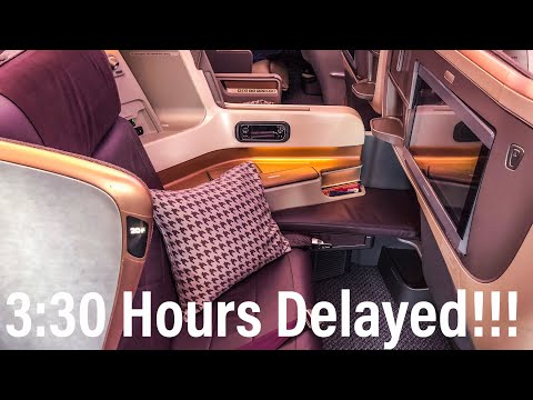 Singapore Airlines A350-900 Business Class Seat Review (3:30 Hour Delay) | Aviation Geeks