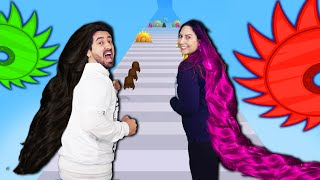 NOOB vs PRO na SUPER CORRIDA DO CABELO GIGANTE no Hair Challenge