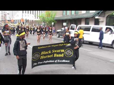 Scotlandville Magnet High School Black Swarm Hornet Band | 2019 | Krewe Tucks Mardi Gras Parade |