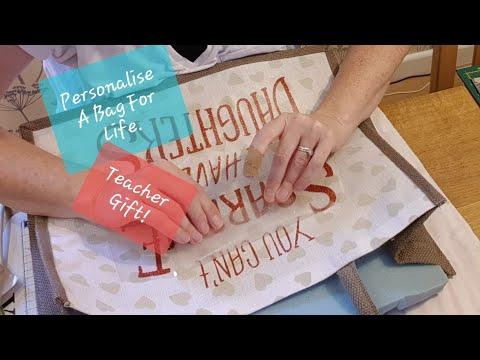 Installing Glitter  HTV Hessian | Gift ideas handmade | Iron on transfer on tote bag | HTV