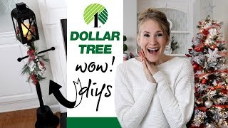 Dollar Tree Christmas WOW DIYs! 🎄Giant Lamp Post, Vintage Pillows & Garland