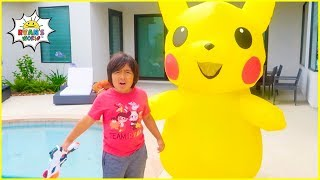 Ryan and Pokemon Pikachu Pretend Play find Daddy Story!!!