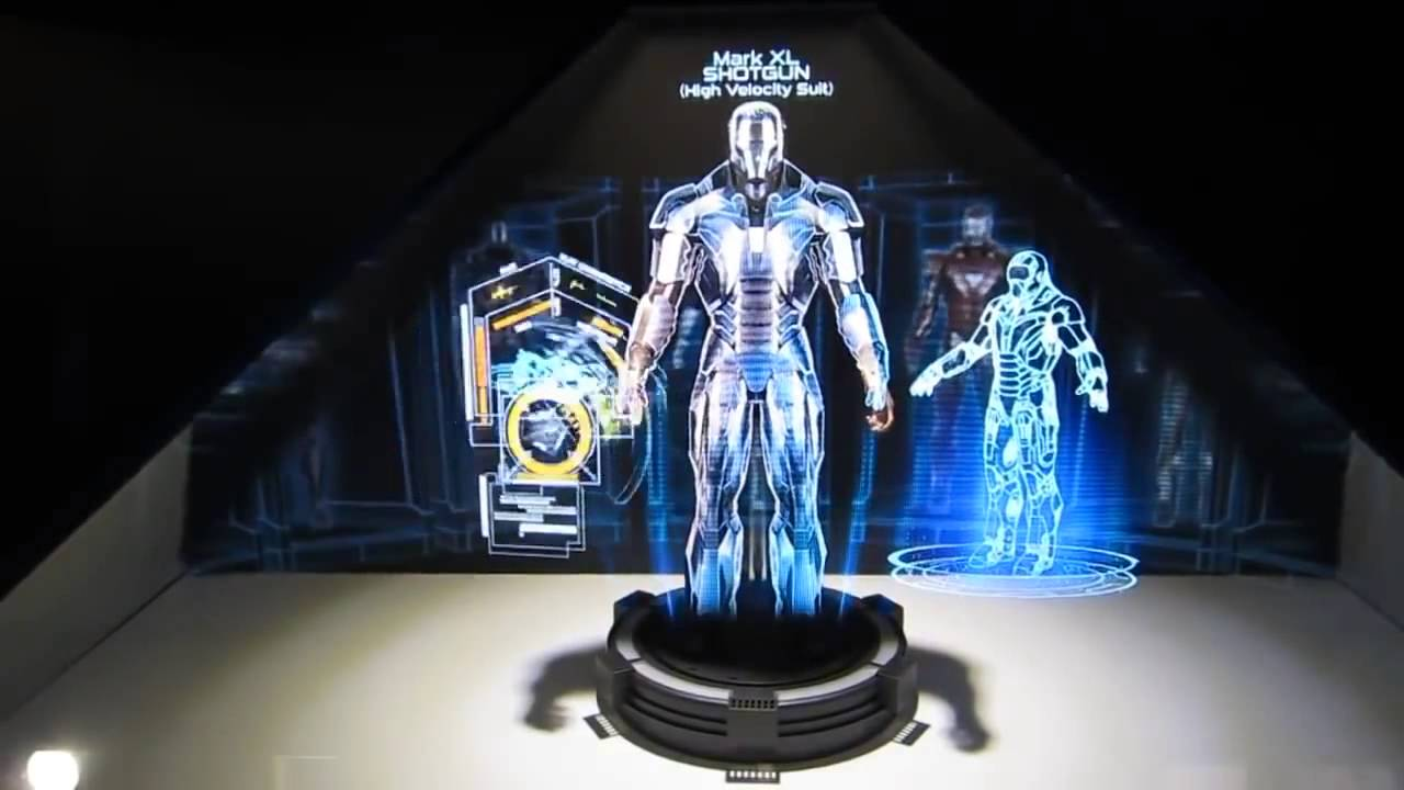 3d Hologram Wallpaper Gif Holographic Projection System Demo With Ironman Hall Of
