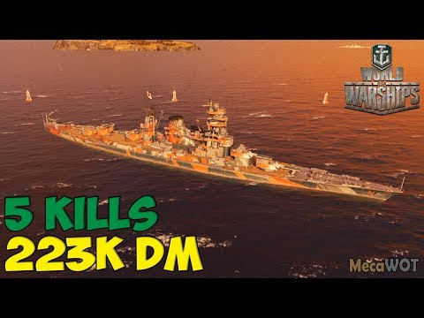 World of WarShips | Amagi | 5 KILLS | 223K Damage - Replay Gameplay 1080p 60 fps