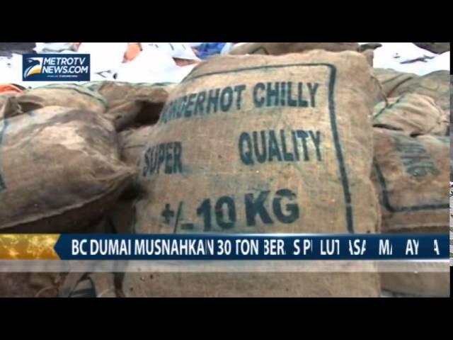 BC Dumai Musnahkan 30 Ton Beras Pulut Asal Malaysia