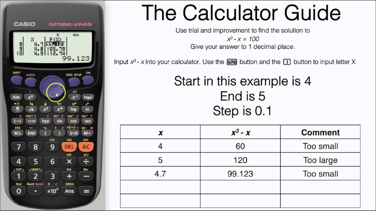 worksheet Function Table trial improvement using table mode on casio 5 steps method calculator fx 83gt 85gt plus youtube
