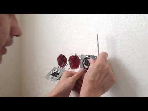 Как сделать двойную розетку в стене видео