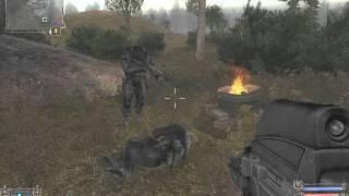 S.T.A.L.K.E.R. Долговец направил пушку на бандита