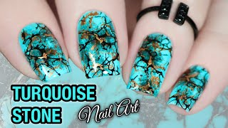 💎 TURQUOISE STONE NAIL ART 💅🏻Nicole Diary Stamping Plate (2020)