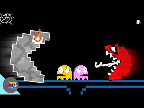 Red Monster Pacman Spider Vs Granite Pacman Ghosts Face-Off Part 2