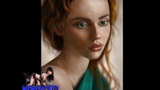 Цифровой портрет - зеленоглазая девушка