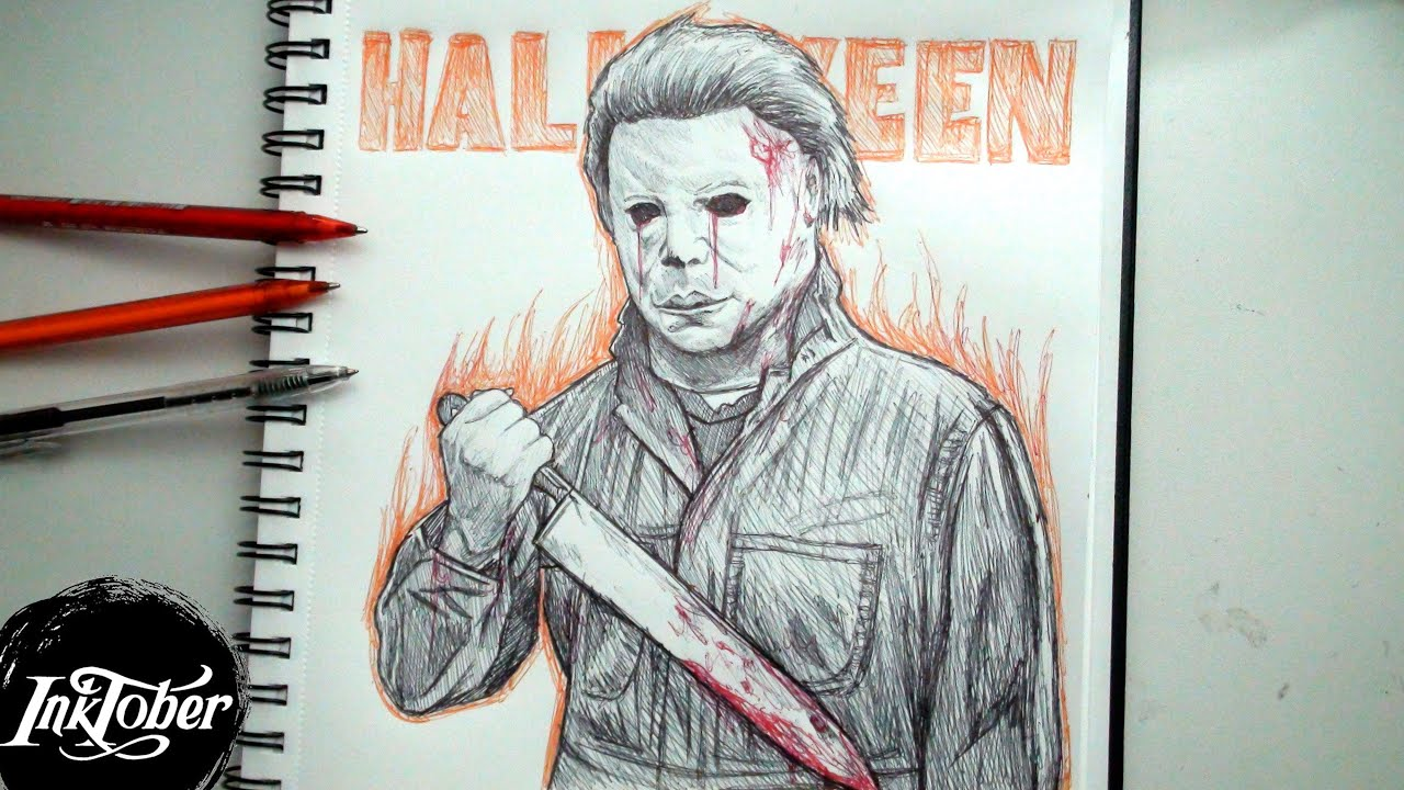 michael myers pen drawing inktober day 29 youtube