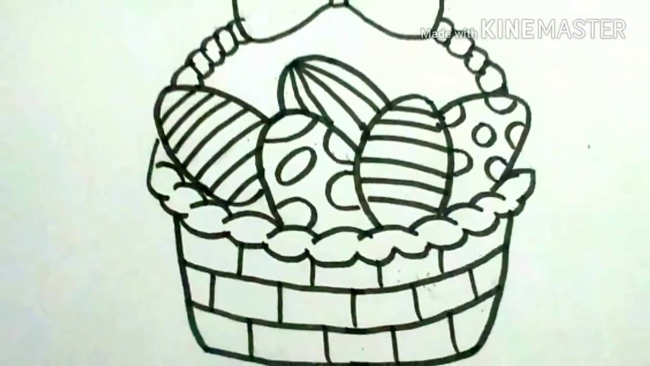 How To Draw Easter Eggs In A Basketeasy Easter Basket Drawing For Kidsdrwaing For Kids