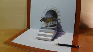 3D Art Drawing Wolf, How to Draw 3D Awesome Wolf, Trick Art
