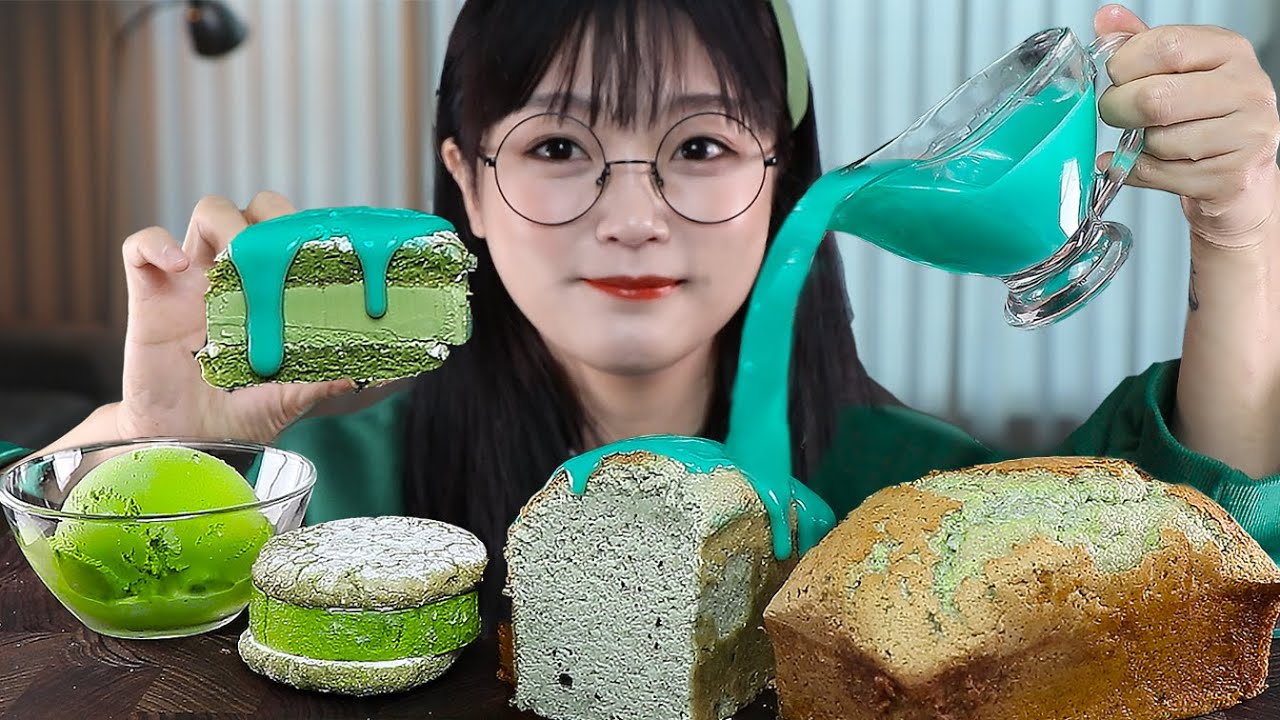 민초단 모여랏🌿 민트초코식빵에 민트잼 듬뿍!🤤 그린디저트 먹방 MINT CHOCOLATE GREEN DESSERT MUKBANG | EATING SOUNDS