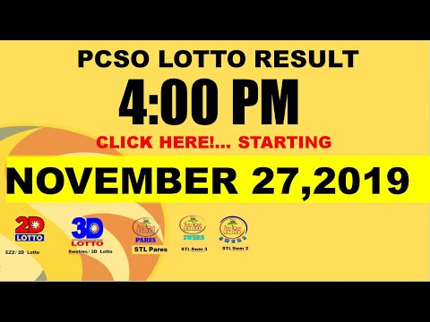 LOTTO RESULTS TODAY [4pm] (November 27, 2019 WEDNESDAY) Swertres, 3D   Ez2, 2D   STL