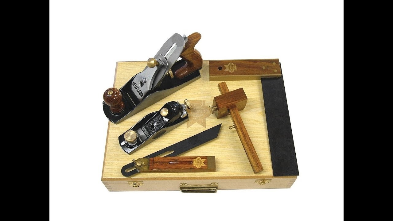 Faithfull Woodworking Hand Plane Square 5pc Set In Wooden Storage