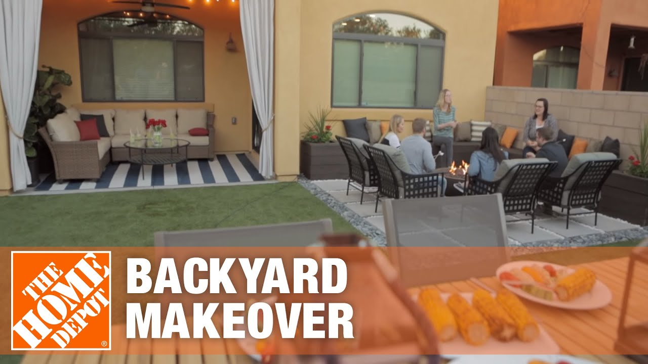gorgeous low maintenance backyard makeover the home depot youtube