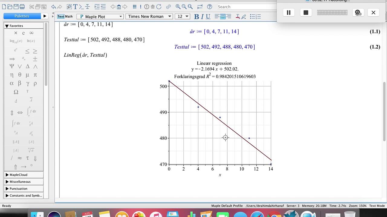 Lineær regression i Maple