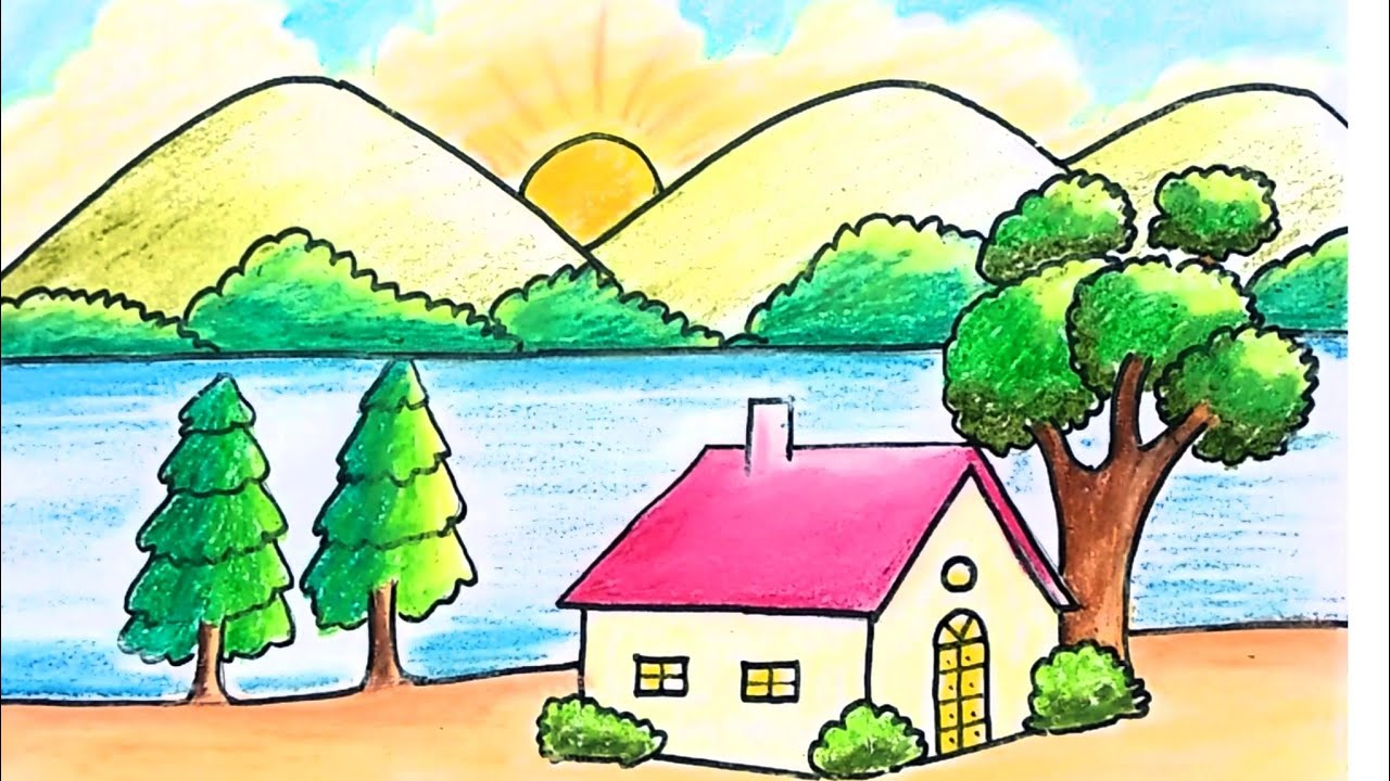 How To Draw Easy Scenery For Kids Scenery For Beginners