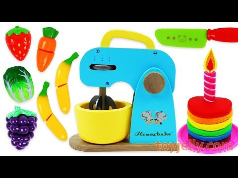 Toy Mixer Playset Make a Play Doh Birthday Cake & Learn Fruits with Wooden Velcro Toys for Kids