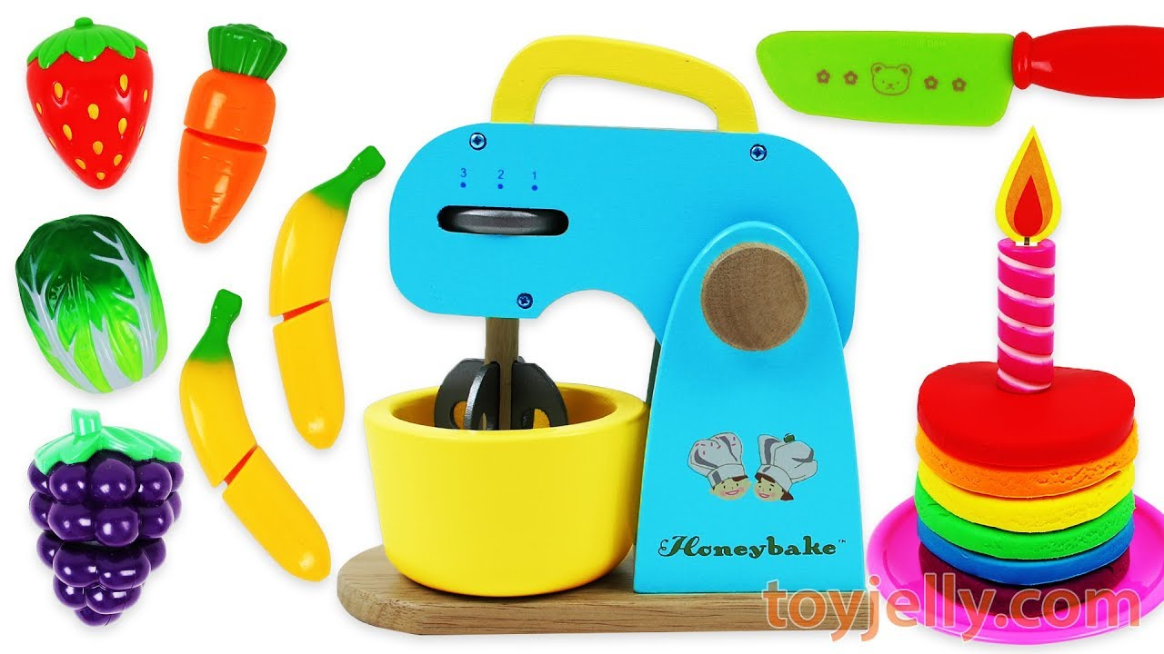 Toy Mixer Playset Make a Play Doh Birthday Cake & Learn Fruits with ...