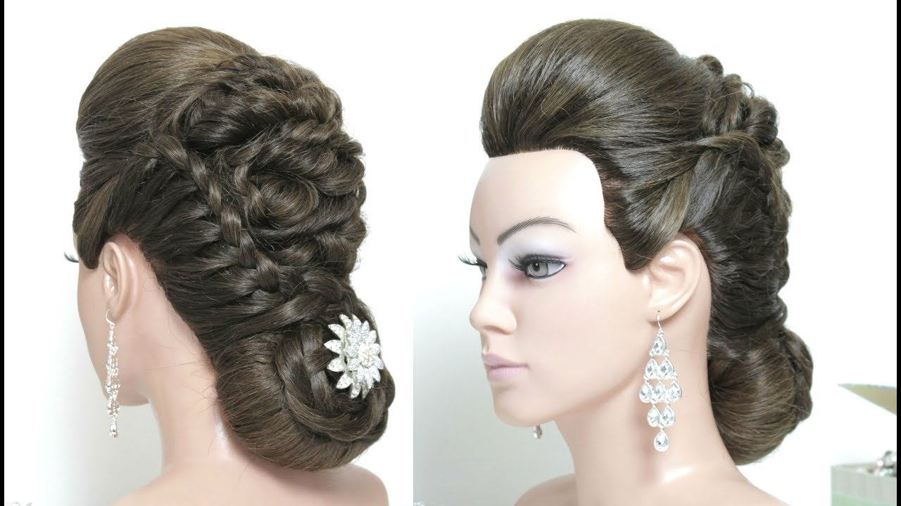 Hairstyle For Long Hair. Braided Updo With Low Bun and Front Puff ...
