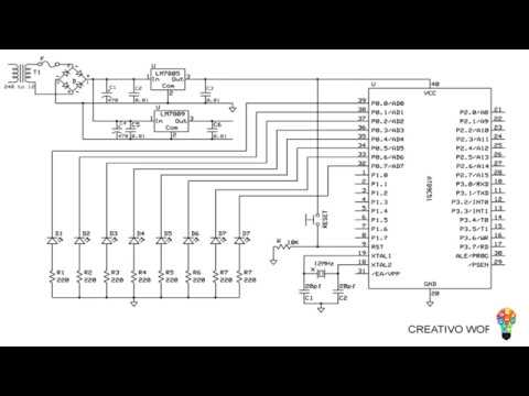 Moving LED Circuit Diagram, Working on Proteus 8 software