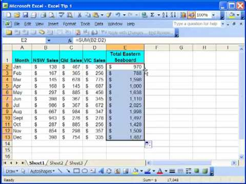 excel tutorial tip 1 copy formula down column excel training
