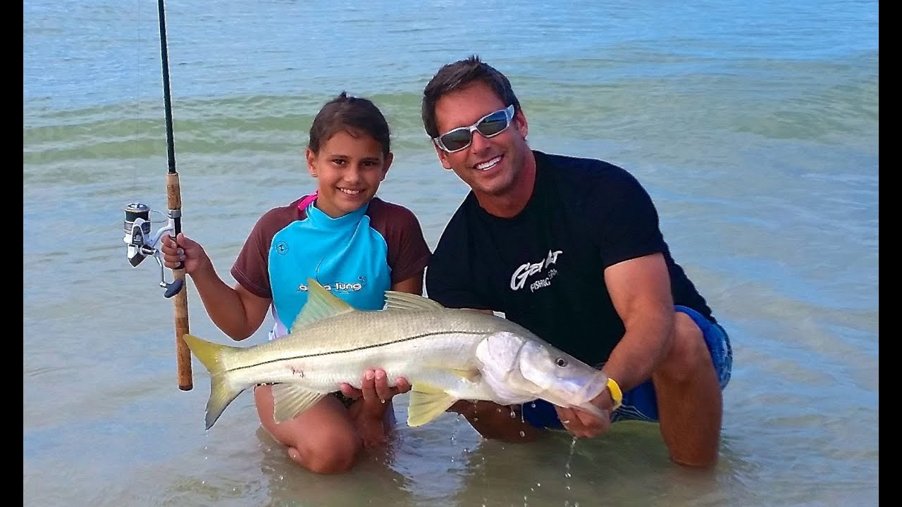 Emily Lands A Jumbo Snook While Beach Fishing On Sanibel Island