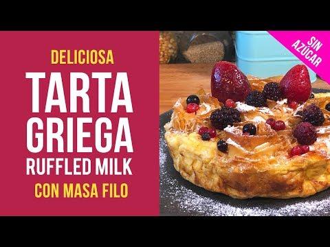 Tarta Filo Griega o Ruffled Milk Cake sin Azúcar con Sucralín
