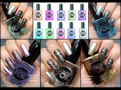New Sally Hansen Color Foil Collection Limited Edition Polish Swatches Haul And Nail Stamping