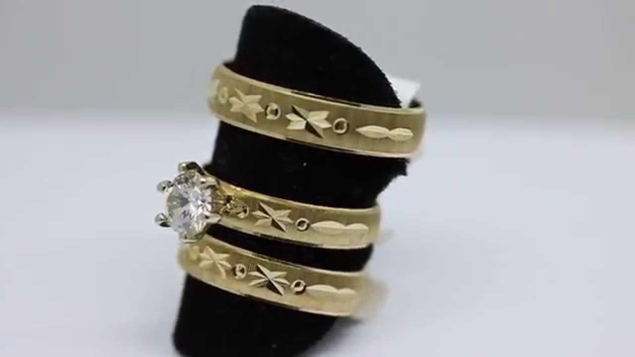 Matrimonio Catolico Costa Rica : Trio de anillos matrimonio en oro youtube