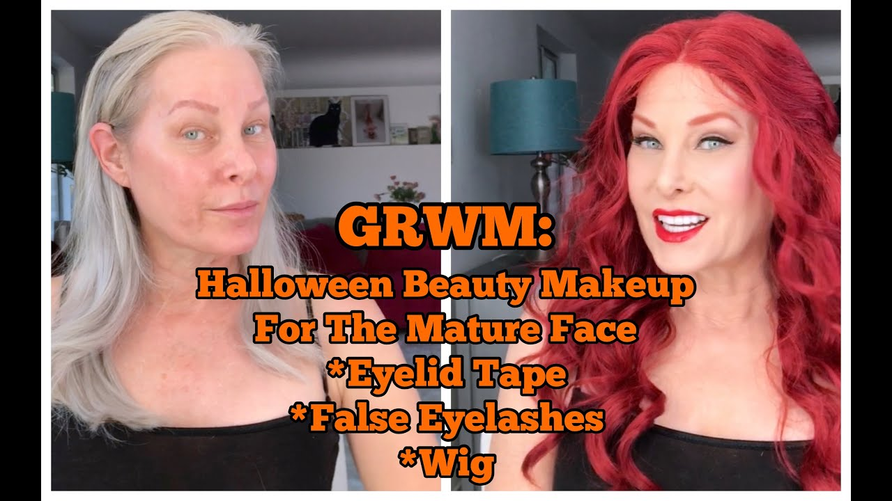 GRWM: Halloween Beauty Makeup for the Mature Face - Eyelid Tape, False Eyelashes, Wig Application