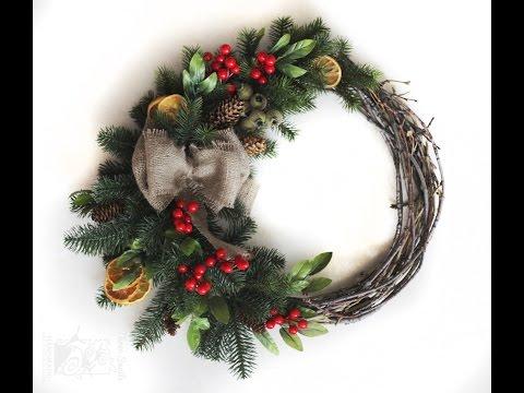 DIY Christmas Decorations: How To Make A Christmas Wreath - DIY Christmas Wreath Tutorial