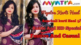 (Rakhi And EID Special)Myntra Anarkali Kurti Haul/Myntra Kurti Haul/The Touchup Girl