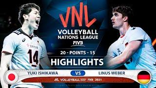 Japan vs Germany   VNL 2021   Highlights   Yuki Ishikawa vs Linus Weber