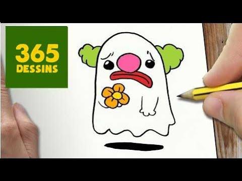 Comment Dessiner Fantôme De Clown Kawaii étape Par étape Dessins Kawaii Facile