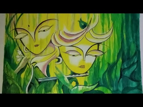 Painting of lord Krishna and radha with hyperlapse   nature love   acrylic   paintings🎨   pencil ✏️